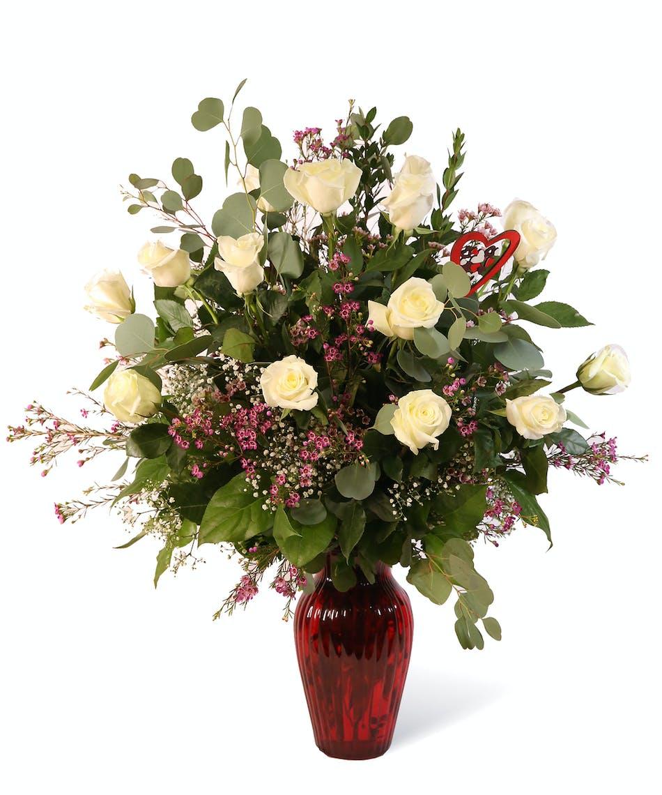 Valentines Day White Roses Uniontown Pennsylvania Florist
