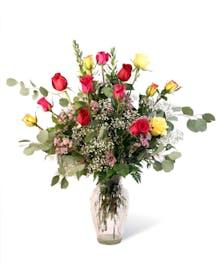 Bright Mixed Dozen Roses