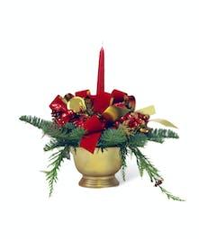 Candlelit Christmas Time Centerpiece Floral Bouquet - Neubauer's Flowers