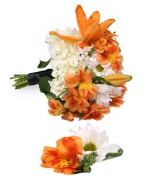 Orange and White Hand Tied Bouquet Uniontown, PA