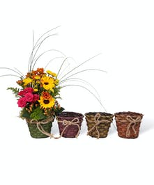 Sunflowers, spray roses and fall colored pomps are just a few flowers that complete this stunning basket!  Pick your color!