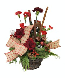 Christmas Basket Red Carnations - Uniontown (PA) Same-day Delivery