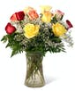 Bright Mixed Dozen Roses - Garden Length